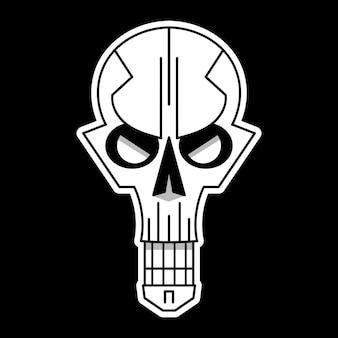 Cool schedel logo op zwarte achtergrond. vector illustratie