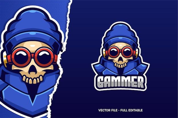 Cool skull e-sport logo sjabloon