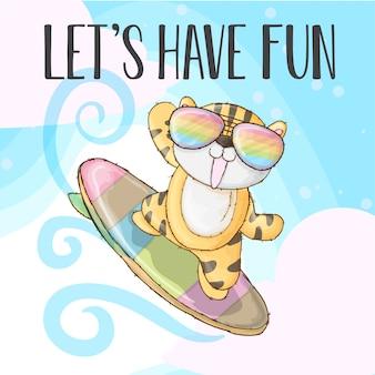 Cool tiger happy fun - vector
