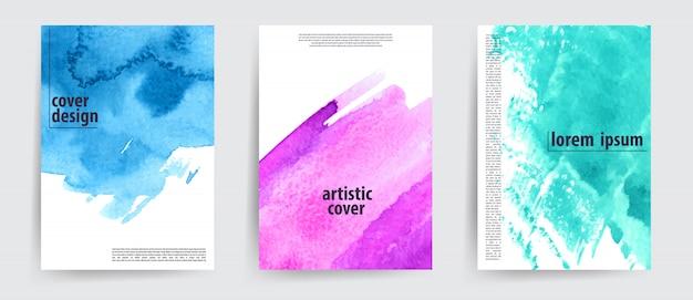 Coole artistieke covers die zijn gezet met aquarel-lookvlekken.