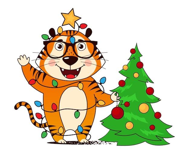 Coole cartoontijger die de kerstboom versiert met lichtjes verstrikt in een slinger