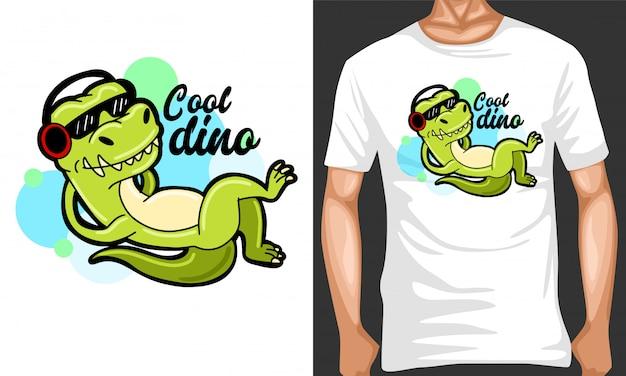 Coole dino met hoofdtelefoon cartoon afbeelding en merchandising design