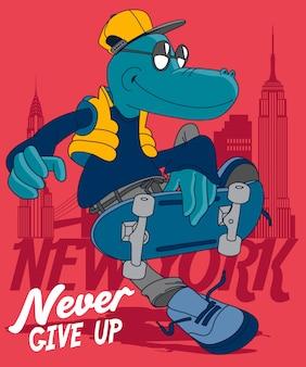 Coole dinosaurus skateboarden