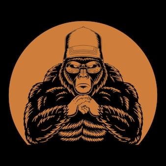 Coole gorilla retro illustratie