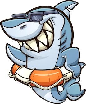 Coole haai met zonnebril die een redder in nood draagt
