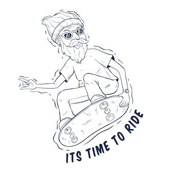 Coole hipster die op het skateboard springt met handtekeningstijl