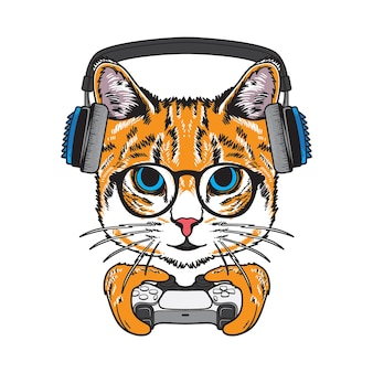 Coole kat met gaming-controller illustratie