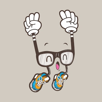 Coole nerd bril mascotte