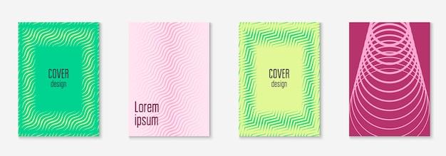Coole omslagsjabloon set. minimale trendy vector met halftone verlopen. geometrische coole voorbladsjabloon voor flyer, poster, brochure en uitnodiging. minimalistische kleurrijke vormen. abstracte illustratie.