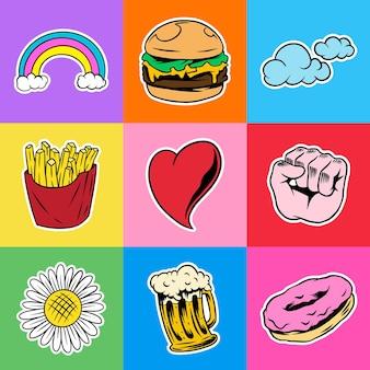Coole pop-art sticker met een witte rand set vector