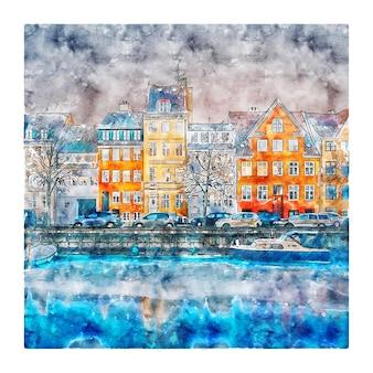 Copenhagen denemarken aquarel schets hand getrokken illustratie