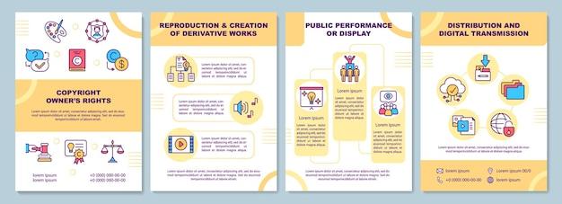 Copyright eigenaren rechten brochure sjabloon. reproductie. flyer, boekje, folder, omslagontwerp met lineaire pictogrammen.