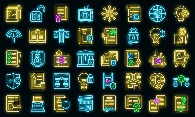 Copyright wet pictogrammen instellen overzicht vector. auteurscontract. commerciële rechten