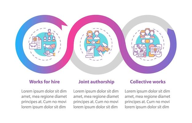 Copyright wet regelgeving infographic sjabloon. werken voor verhuur presentatie ontwerpelementen.
