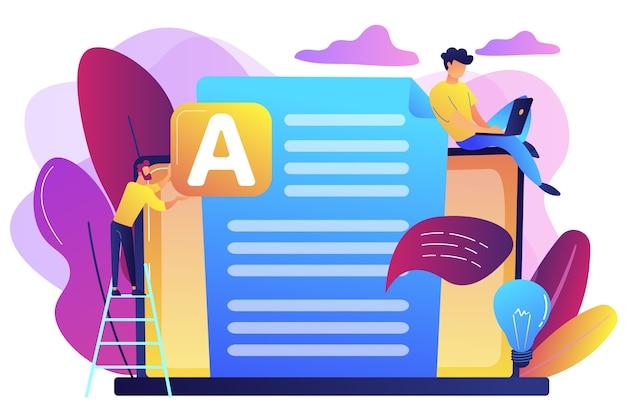 Copywriter op enorme laptop die creatieve advertentietekst schrijft. copywriting baan, home based copywriter, freelance copywriting concept.