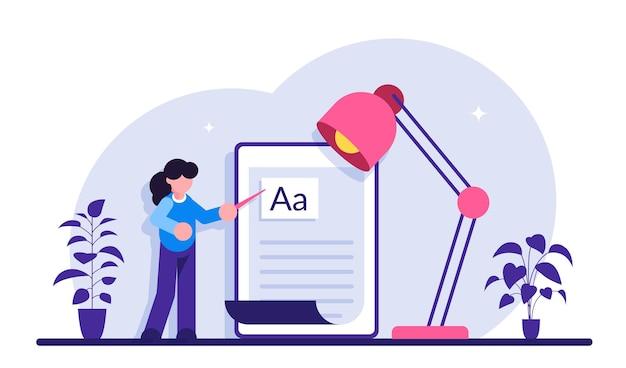Copywriting baan, copywriter thuis, freelance copywriting. copywriter schrijft creatieve reclametekst. Premium Vector
