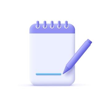 Copywriting schrijven pictogram creatief schrijven en verhalen vertellen 3d vectorillustratie