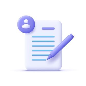 Copywriting schrijven pictogram document en potlood schrijven onderwijs concept 3d vectorillustratie