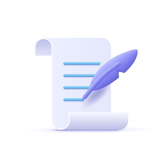 Copywriting schrijven pictogram document en veren pen 3d vectorillustratie