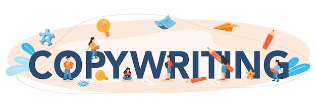 Copywriting typografische formulering. idee van het schrijven van teksten, creativiteit en promotie. waardevolle content maken en werken als freelancer.