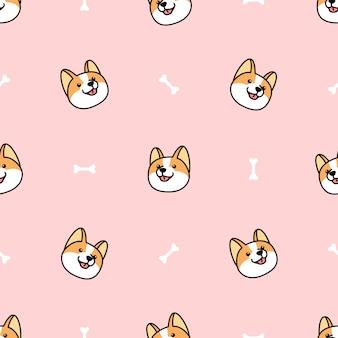 Corgi hond gezicht met bot naadloos patroon