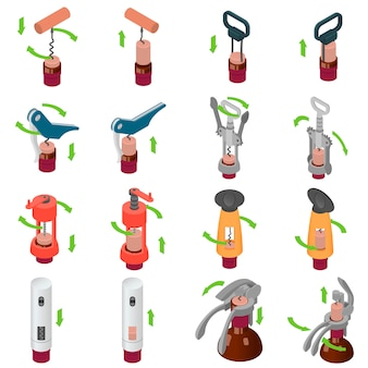 Corkscrew wine opener icons set