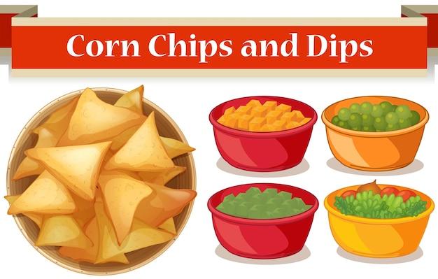 Corn chips en vier soort dips illustratie