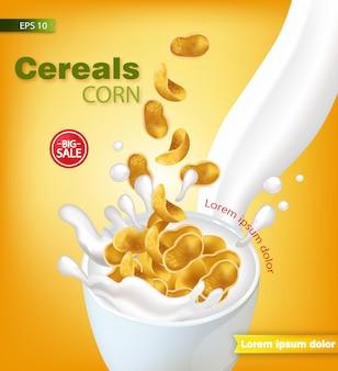 Cornflakes, ontbijtgranen, met, melk, bespatten, mockup