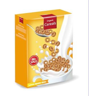 Cornflakes, ontbijtgranen, met, melk, mockup