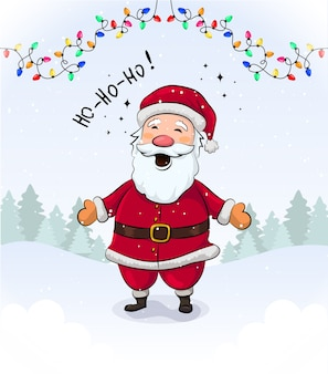 Corolful cristmas grteeting kaart met schattige lachende kerstman