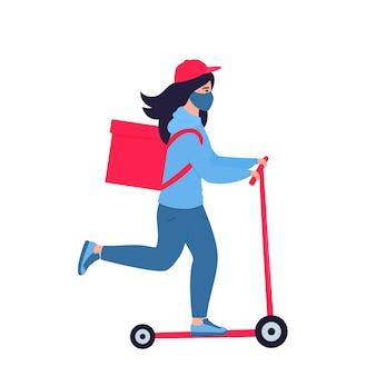 Corona-epidemie. het bezorgmeisje in een beschermend masker draagt voedsel op een autoped. geen verzendkosten