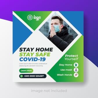 Corona virus awareness social media template