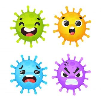 Corona virus cartoon expressie, blij, geschokt, verdrietig en boos.