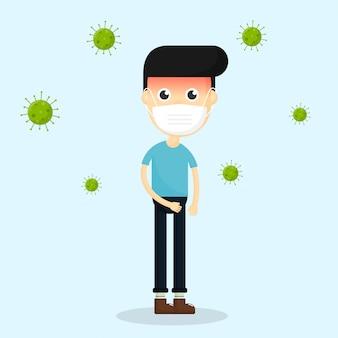 Corona-virus. covid 19 quarantaine zieke man. bacteriën geïsoleerd op blauwe achtergrond.