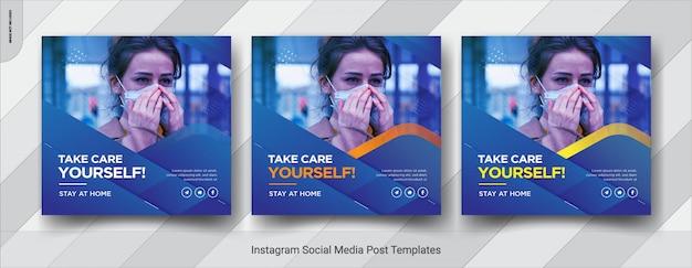 Corona-virus dat sociale media vierkante postsjabloon waarschuwt