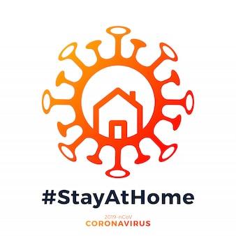 Corona-virus geschreven in typografie posterontwerp. planeet redden van corona-virus. veilig blijven, binnen blijven. preventie tegen virus.