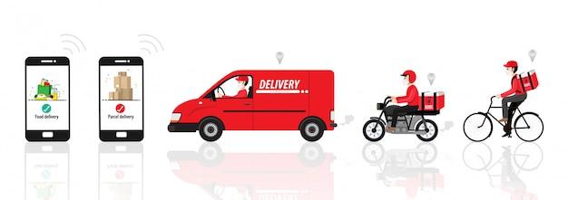 Corona-virus, levering in quarantaine. online bestelling en voedsel of product express levering concept. koerier met medische, beschermende, ademhalingsmasker rijden fiets, fiets, auto. illustratie