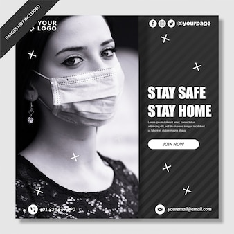 Corona-virus preventiebanner instagram post premium vector
