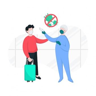 Corona virus screeningstest door medisch personeel in luchthavenillustratie