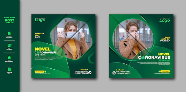 Corona virus social media post-sjabloon voor social awareness premium