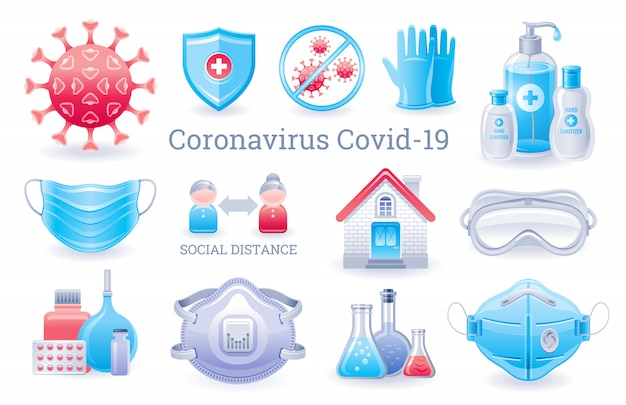 Corona-virusbeschermingsset. virus covid-preventiecollectie met medische en ppe-elementen. handdesinfecterend middel, ademhalingsmasker, handschoenen, bril, quarantaine-huissymbool.