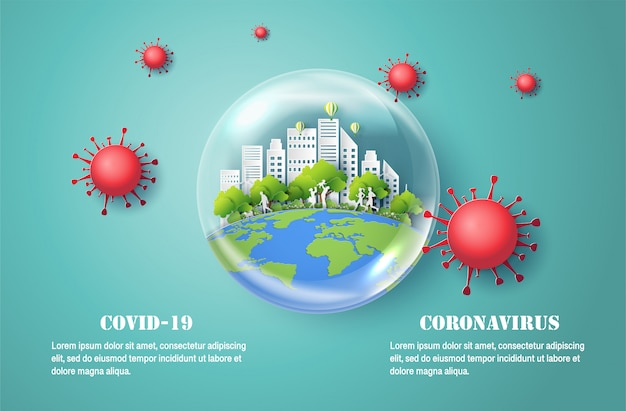 Corona-virusziekte covid-19, papierkunststijl van waterbel met stad erin, beschermt de gezondheid van u en uw gezin.