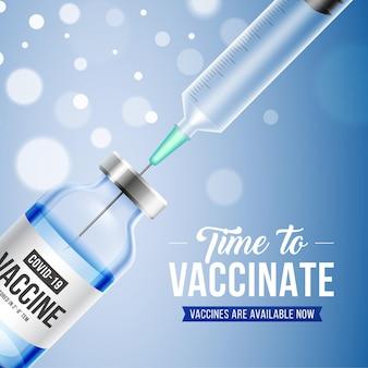 Coronavaccin. covid-19 coronavirusvaccinatie met realistische 3d-vaccinfles en spuitinjectie-instrument voor covid19-immunisatiebehandeling.