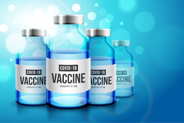 Coronavaccin. covid-19 coronavirusvaccinatie met realistische 3d-vaccinfles voor covid19-immunisatiebehandeling.