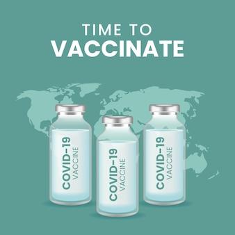 Coronavaccin. covid-19 coronavirusvaccinatie met vaccinfles en spuitinjectie voor covid-19 immunisatiebehandeling.