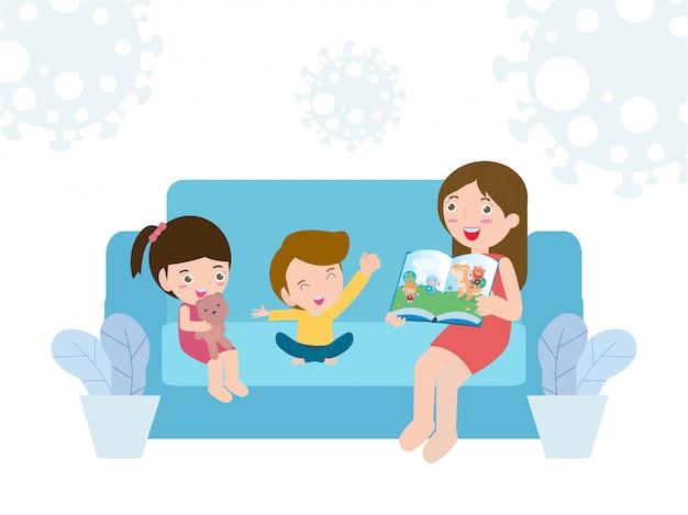 Coronavirus (2019-ncov) covid-19 bewustwording sociale-mediacampagne en coronaviruspreventie, happy family lifestyle-activiteit en samen thuis blijven