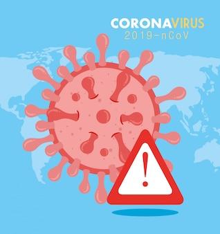 Coronavirus 2019 ncov-deeltje met waarschuwingssignaalillustratie