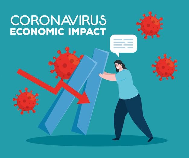 Coronavirus 2019 ncov impact wereldeconomie, covid 19 virus make-down economie, wereldeconomische impact covid 19, vrouw met infographic omlaag