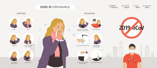 Coronavirus 2019-ncov infographicselementen, mensen vertonen coronavirus-symptomen en risicofactoren. longontsteking.