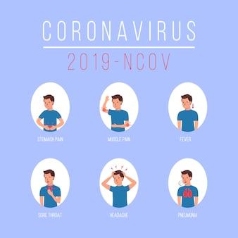 Coronavirus 2019-ncov-symptomen. wuhan-virusziekte. karakter, man met verschillende symptomen coronavirus - hoesten, koorts, niezen, hoofdpijn, ademhalingsmoeilijkheden, spierpijn. illustratie.